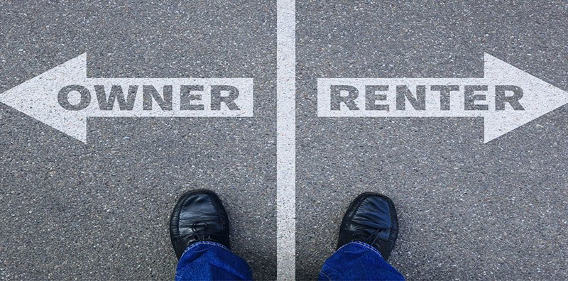 Someone standing looking down right arrow renter, left arrow owner